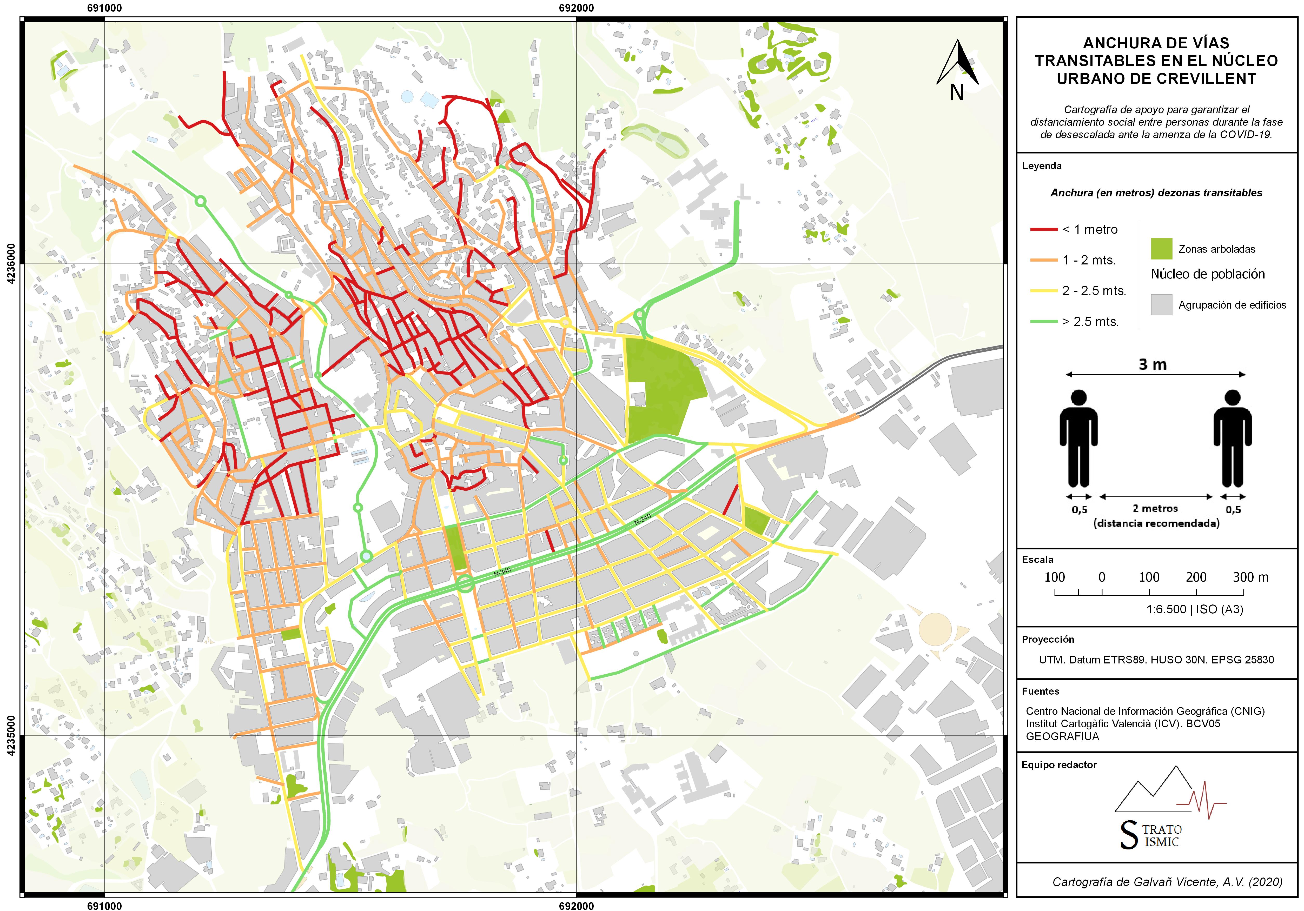Cartografía de distanciamiento social de Crevillent (Alicante)